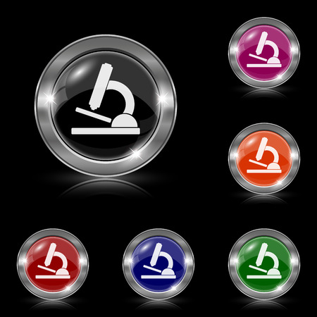Silver shiny icons - six colors vector set