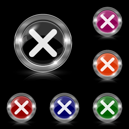 Silver shiny icons - six colors vector set - eps10 Vector