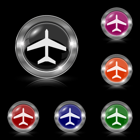 air port: Silver shiny icons - six colors vector set - eps10