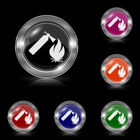 firealarm: Silver shiny icons - six colors vector set - eps10