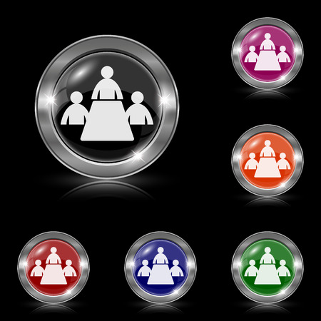 push room: Silver shiny icons - six colors vector set - eps10