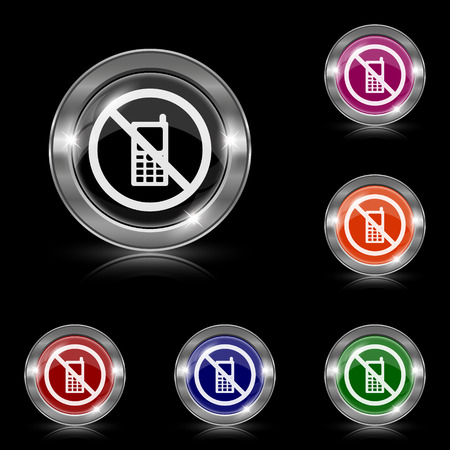 use regulations: Silver shiny icons - six colors vector set - eps10