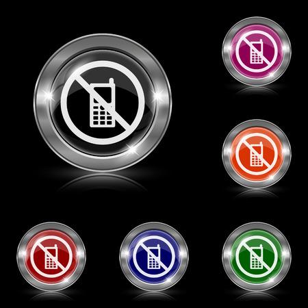 refrain: Silver shiny icons - six colors vector set - eps10
