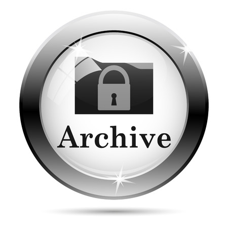 data archiving: Metallic shiny glossy icon on white background