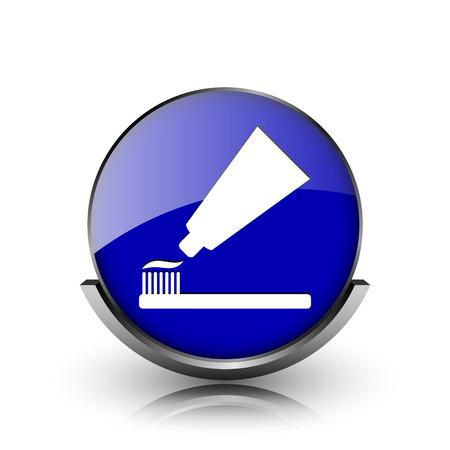 fluoride toothpaste: Blue shiny glossy icon on white background