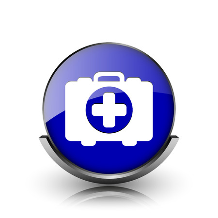 first aid kit key: Blue shiny glossy icon on white background