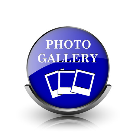 Blue shiny glossy icon on white background photo