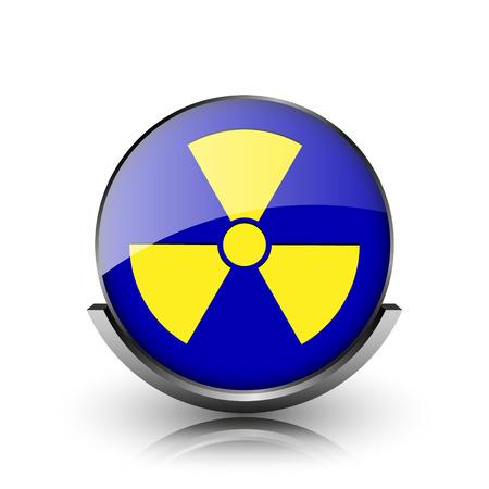 hazardous substances: Blue shiny glossy icon on white background