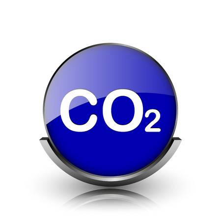 danger carbon dioxide  co2  labels: Blue shiny glossy icon on white background