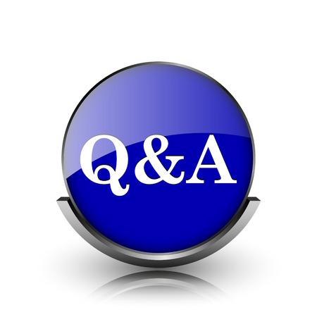 qa: Blue shiny glossy icon on white background