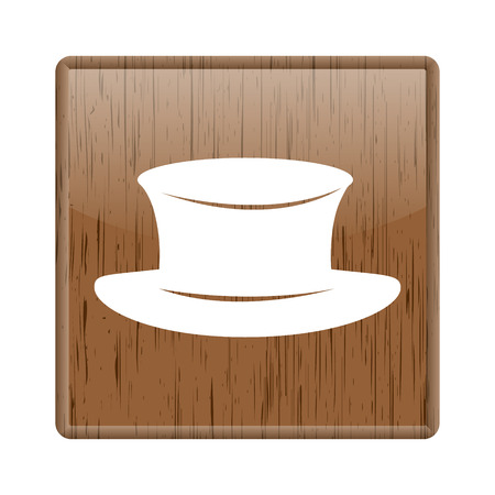 wooden hat: Shiny glossy wooden hat icon on white background Stock Photo