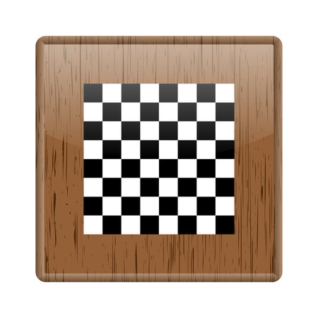 Shiny glossy wooden checkered board icon on white background photo