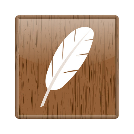 Shiny glossy wooden feather icon on white background photo