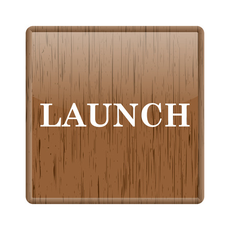 Shiny glossy wooden launch icon on white background photo