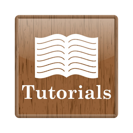 Shiny glossy wooden tutorials icon on white background photo