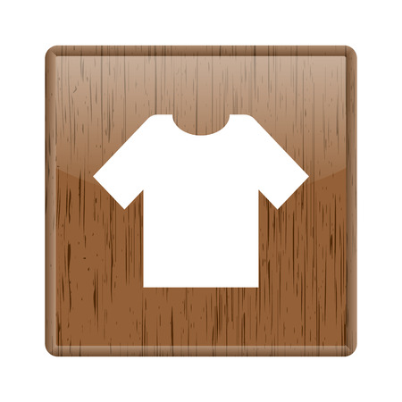 Shiny glossy wooden shirt icon on white background photo