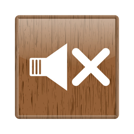 Shiny glossy wooden mute icon on white background photo
