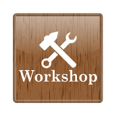 Shiny glossy wooden workshop icon on white background photo