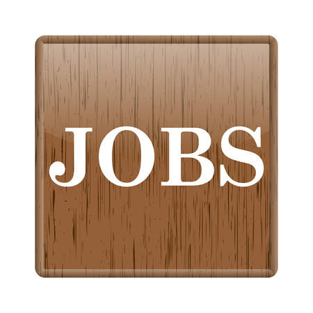 Shiny glossy wooden jobs icon on white background photo