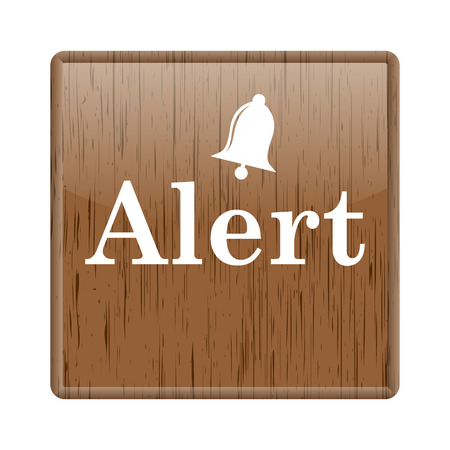 alert ribbon: Shiny glossy wooden alert icon on white background