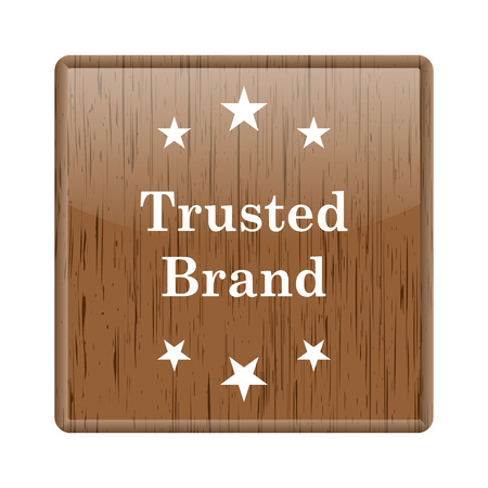trusted: Shiny glossy wooden trusted brand icon on white background