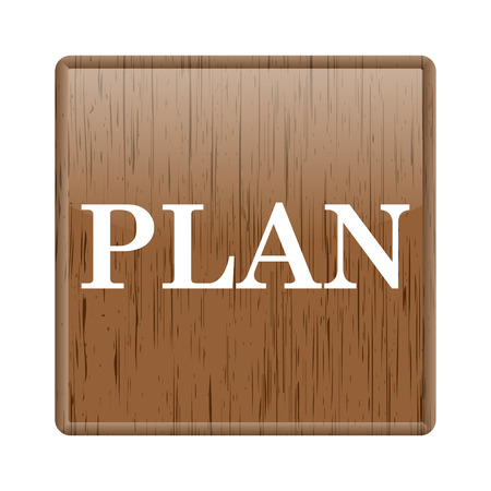 Shiny glossy wooden with plan icon on white background photo