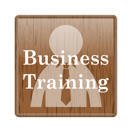 push room: Shiny glossy wooden with business training icon on white background