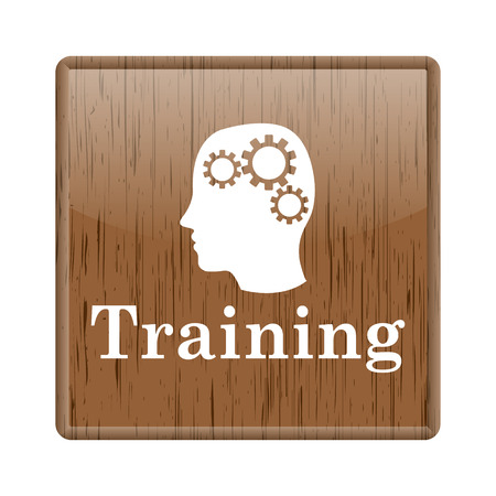 Shiny glossy wooden training icon on white background photo