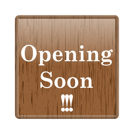 Shiny glossy wooden opening soon icon on white background photo