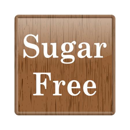 Shiny glossy wooden written sugar free icon on white background photo