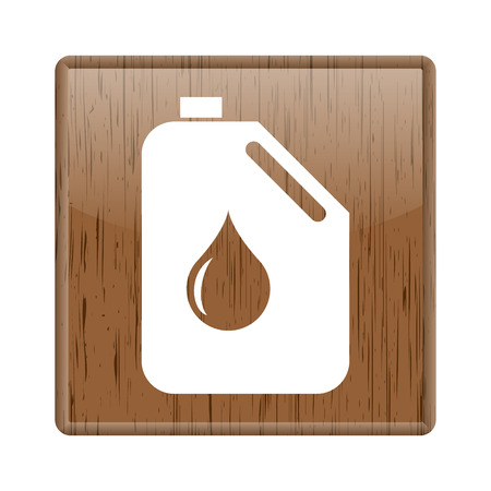Shiny glossy wooden with petrol bottle icon on white background photo