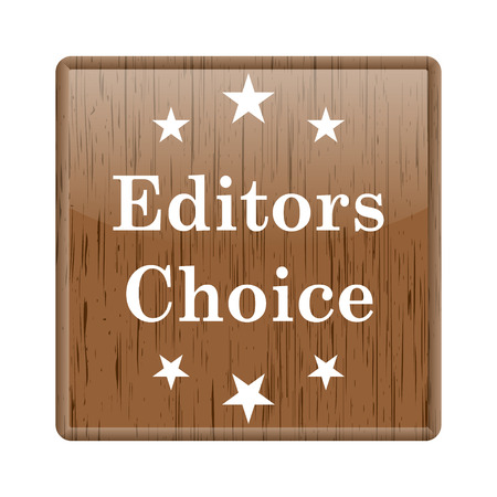 editor: Shiny glossy wooden with editor choice icon on white background