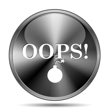 blunder: Glossy shiny glass icon on white background Stock Photo