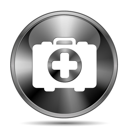 first aid kit key: Glossy shiny glass icon on white background Stock Photo