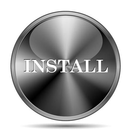 operative system: Glossy shiny glass icon on white background Stock Photo