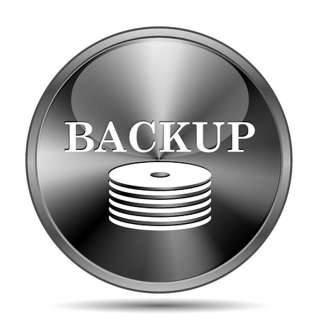 data archiving: Glossy shiny glass icon on white background Stock Photo