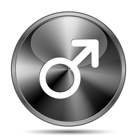 Glossy shiny glass icon on white background photo