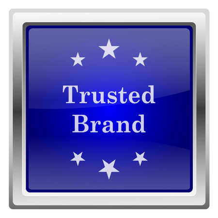 trusted: Metallic shiny glossy icon on white background