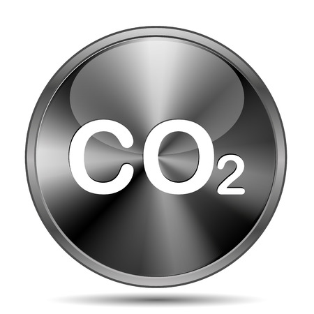 danger carbon dioxide  co2  labels: Glossy shiny glass icon on white background Stock Photo