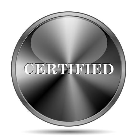 ratification: Glossy shiny glass icon on white background Stock Photo