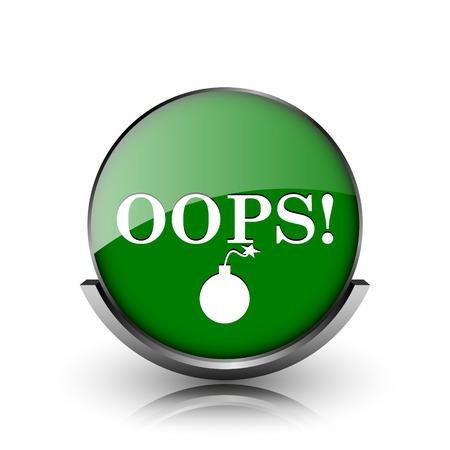 blunder: Green shiny glossy icon on white background Stock Photo