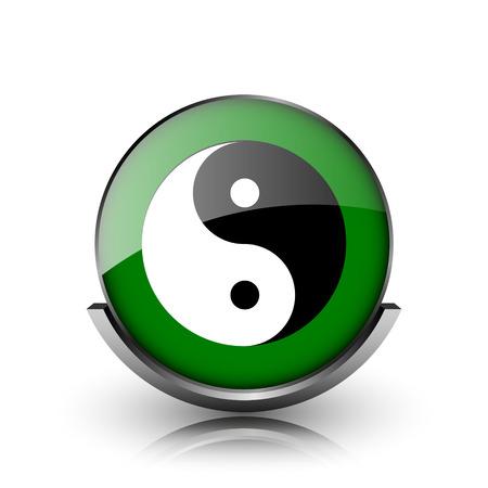 yan: Green shiny glossy icon on white background Stock Photo