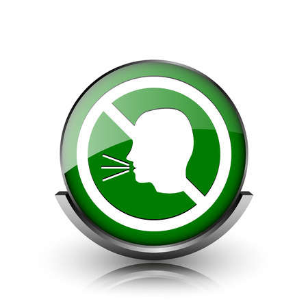 noisily: Green shiny glossy icon on white background Stock Photo