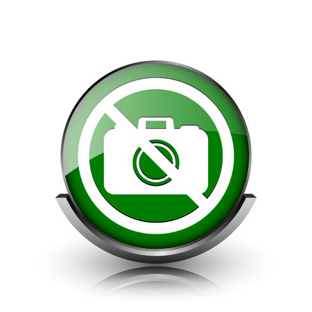 Green shiny glossy icon on white background photo