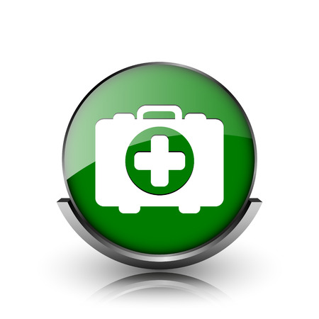 first aid kit key: Green shiny glossy icon on white background Stock Photo