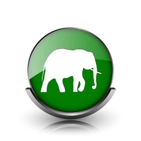 endanger: Green shiny glossy icon on white background Stock Photo