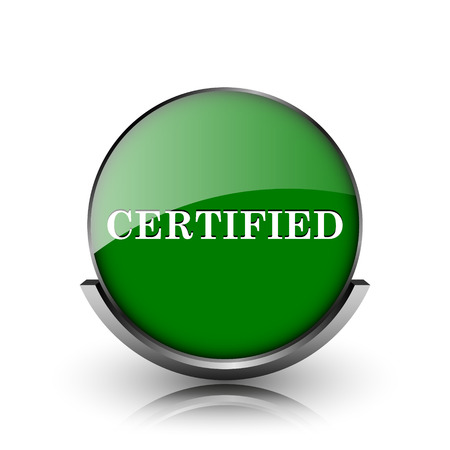endorsed: Green shiny glossy icon on white background Stock Photo