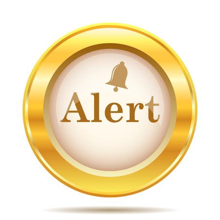 alert ribbon: Golden shiny glossy icon on white background
