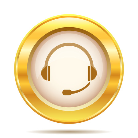 Golden shiny glossy icon on white background photo