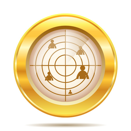 Golden shiny glossy icon on white background photo